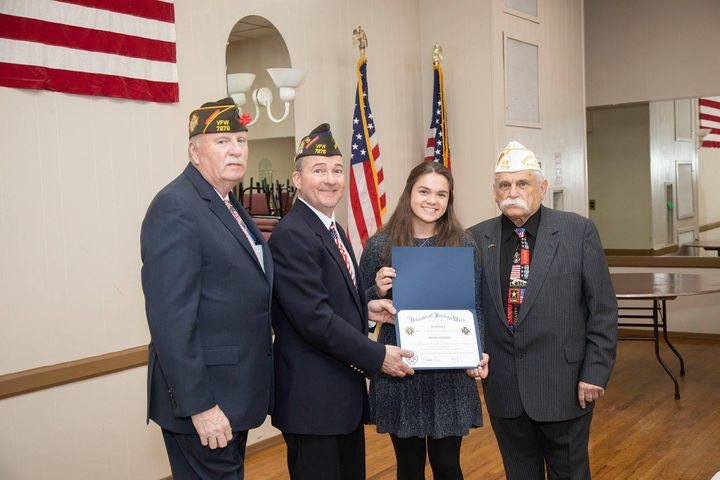 The Wade-Burns Veterans of Foreign Wars Post 7279 recently recognized Lindenhurst High School student Brooklyn Ratel for...