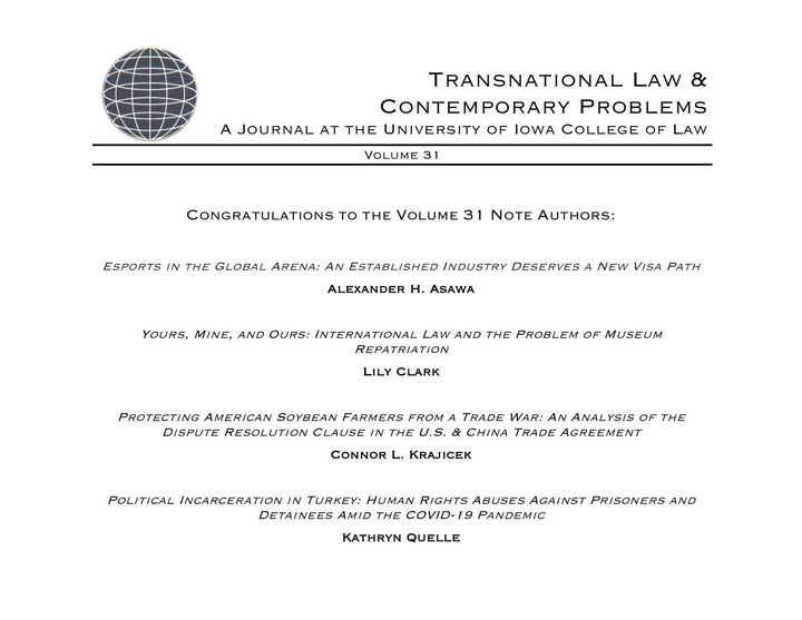 TLCP is pleased to announce the following student notes selected for publication in Volume 31.