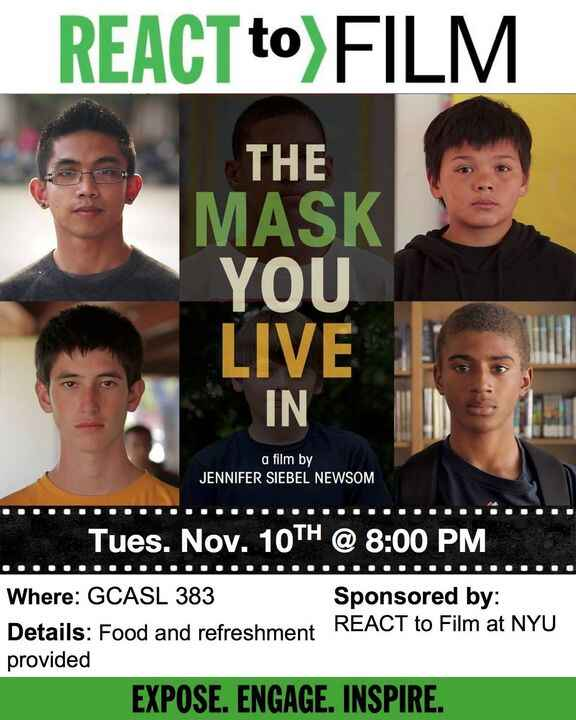 """Today's the day! We screen """"THE MASK YOU LIVE IN"""" at 8pm in GCASL room 383! Come watch this groundbreaking documentary:"""