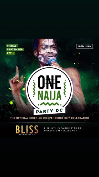 The Biggest Official Afrobeat Celebration of the year TODAY @ BLISS DC.. - https://mailchi.mp/thisisfame/the-biggest-off...