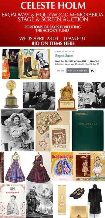 Don't forget to own a piece of Celeste Holm's historic life via Auction - TODAY ONLY!Link to Doyle's Stage & Screen Auct...