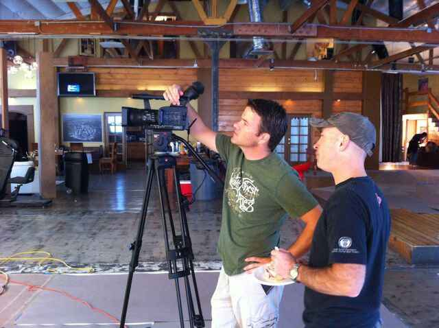 Chris and asst. Roger setting up a shot at Solar Studios in Hollywood.