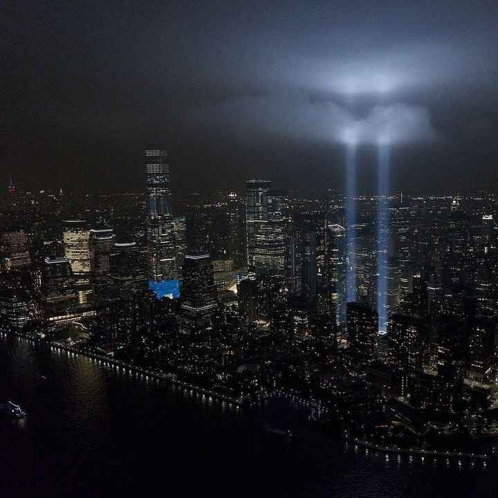 Two beams of light means two bolts of strength #neverforget911 #newyorkstrong Photo credit: @flynyon