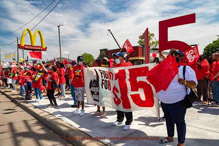 Fast food workers rallied at a McDonald's restaurant in Detroit, calling for a $15 minimum wage. It was part of a one-da...