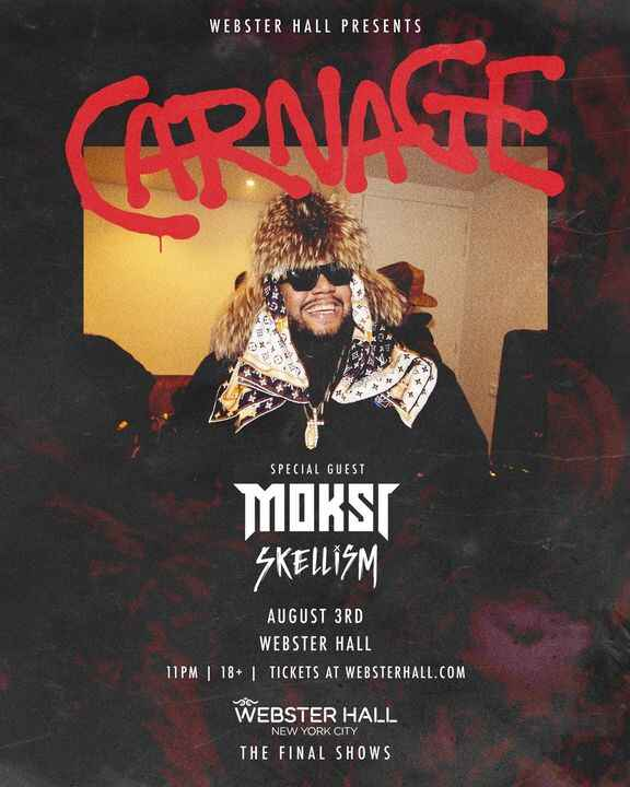 Just announced support for Carnage!Moksi & Skellism.Tickets still available here: http://bit.ly/CarnageWH