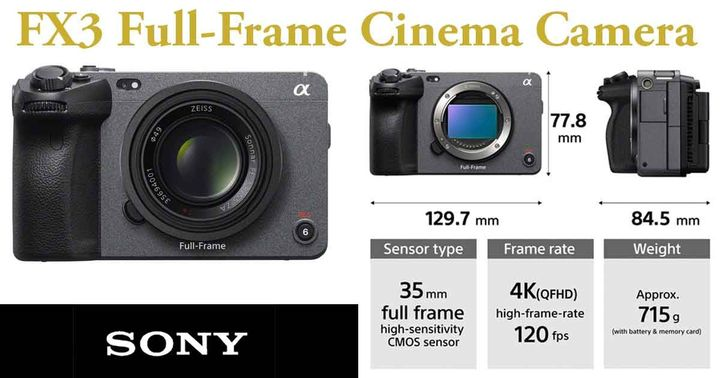 We have added the Sony FX3 to our rental inventory.With its compact design, the full-frame cinema camera allows you to t...