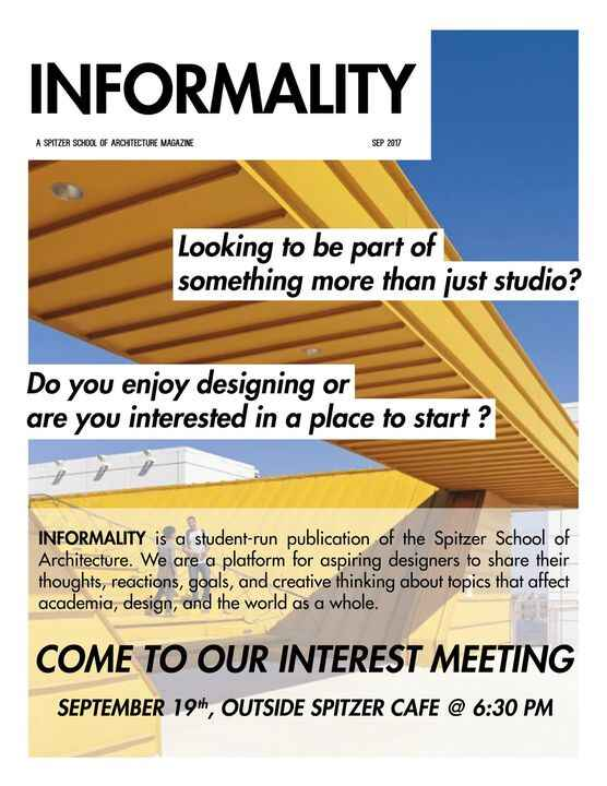 Informality's first interest meeting will be on Tuesday, September 19th! Join us by the cafe at 6:30pm.