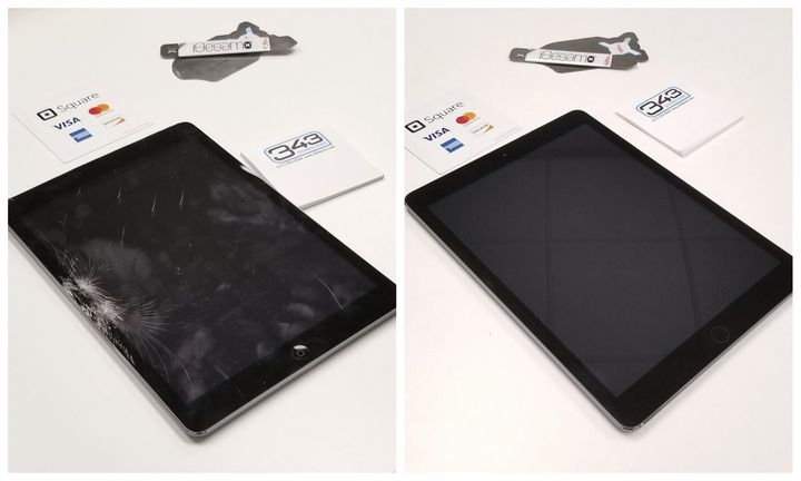 A before and after of an iPad screen repair by our Head Technician Brock Merritt. We offer quick and quality work for al...