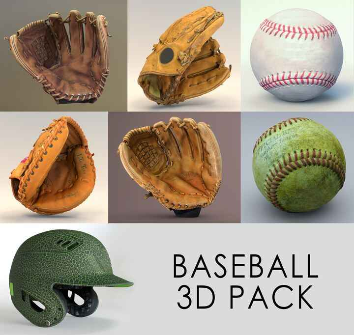 3D assets for use in Film, TV, Unity, Unreal, and anywhere else you might need photo-realistic baseball gloves, balls, o...