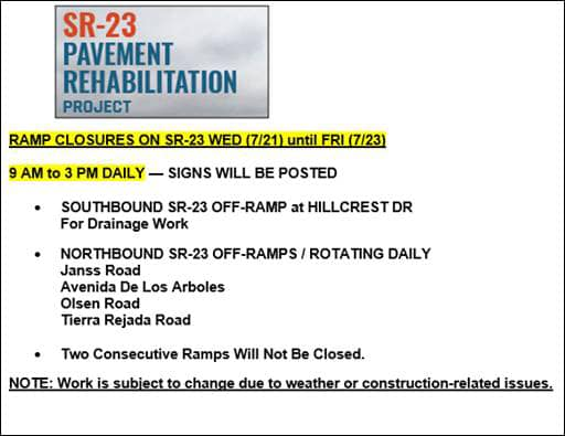 CA 23 ramp closures for your convenience