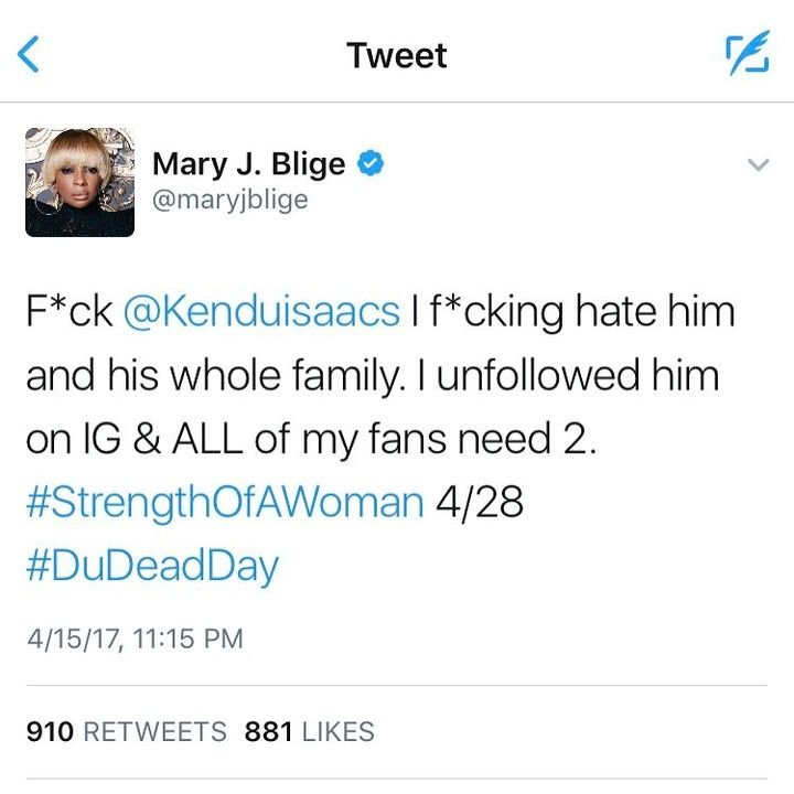 #maryjblige is not playing with #kenduisaacs are his family !