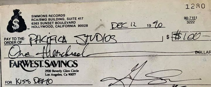 The first Gene Simmons check..1990