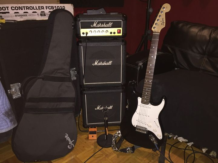 The vintage Marshall Mini Stack and Fender Squire Strat. Don't forget the DS-1 pedal. Over 20 years and still making noi...