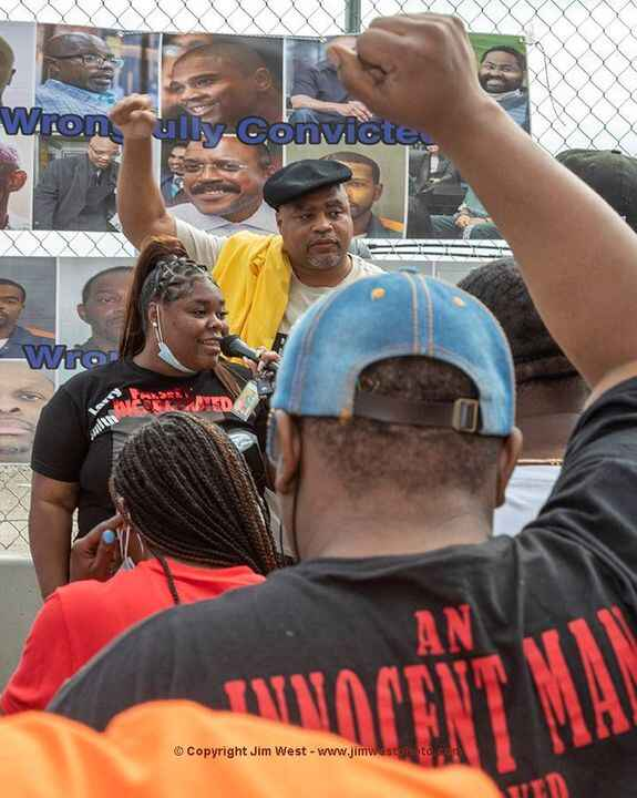 Nakira Bullard spoke at a rally this morning to support prisoners who have been wrongfully convicted. Standing behind Na...