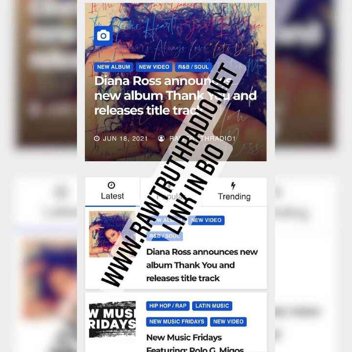Check out the Latest News via www.rawtruthradio.net (Link In The Bio) featuring #DianaRoss #PoloG #BadBunny #8liccy #New...