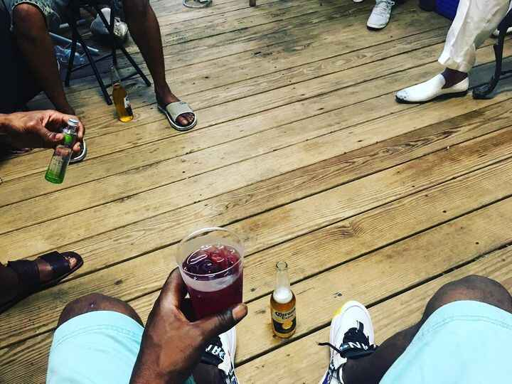 Drinks on deck... catching a wave while the homie checks in with his folks. #Family #vibe.. Brooklyn love!