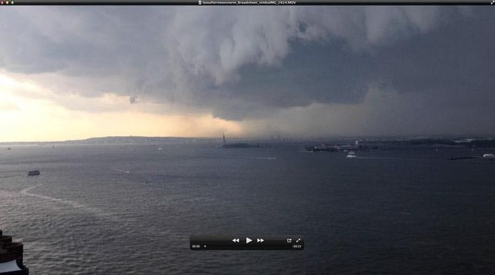 Check out this fast moving thunderstorm coming in from New Jersey, over the New York Harbor and into Lower Manhattan.Lin...