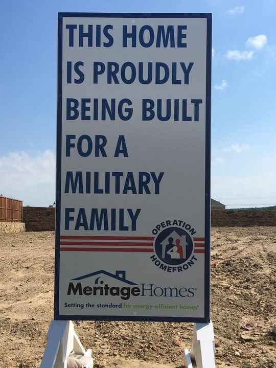 Another great charity we are associated with, Operation Home Front and Meritage Homes. They give homes mortgage free to ...