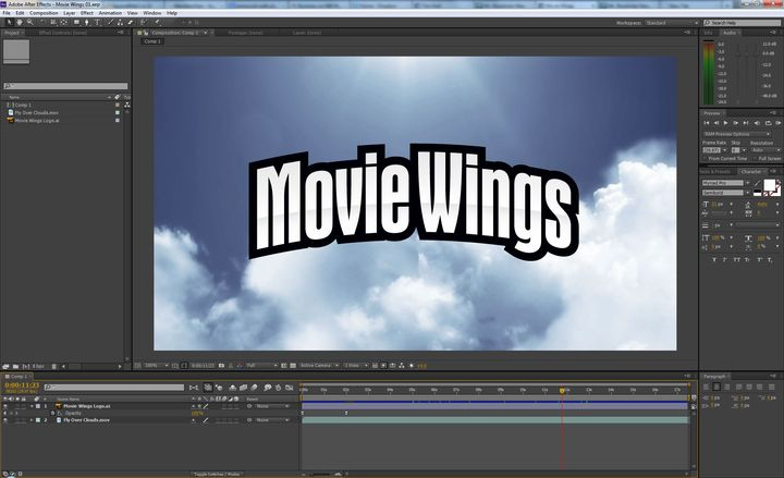 Beginning work on the Movie Wings opening in After Effects... keep the coffee coming! haha