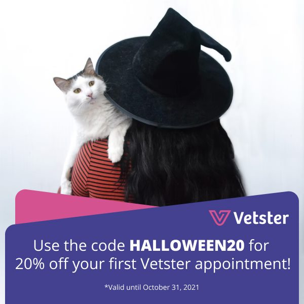 Trick or TREAT!!! Get 20% off first Vetster appointment! Using Vetster is like having your own personal on-call online v...