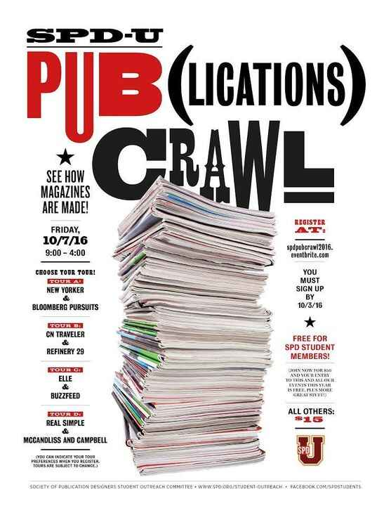 The SPD-U Pub(lications) Crawl is back on Friday, October 7th, 2016 featuring tours of Bloomberg Pursuits, BuzzFeed, Con...