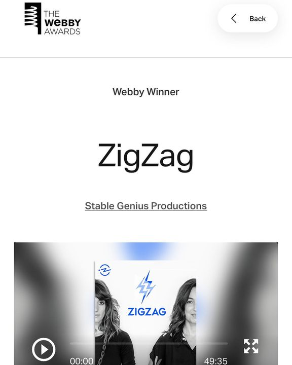 A bittersweet ending as our friends at @stablegp wrap up @zigzagpod with a 2020 #webby award for Best Host 🏆 We'll miss ...