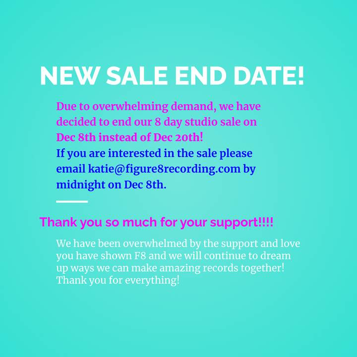 We are ending the sale early but there is still time to purchase before it's too late! Just make sure to email katie@fig...