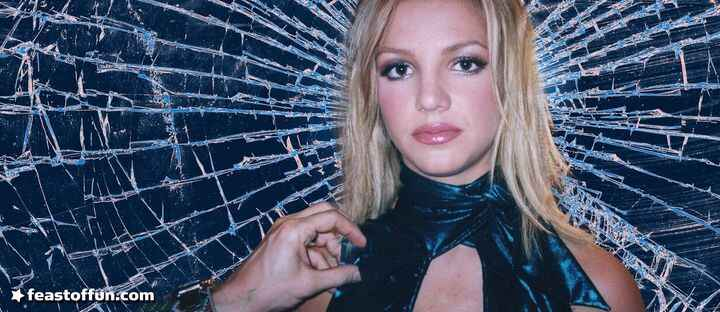 Britney Spears as a modern day saint, but the halo is cracked glass, representing her suffering as woman trapped by her ...