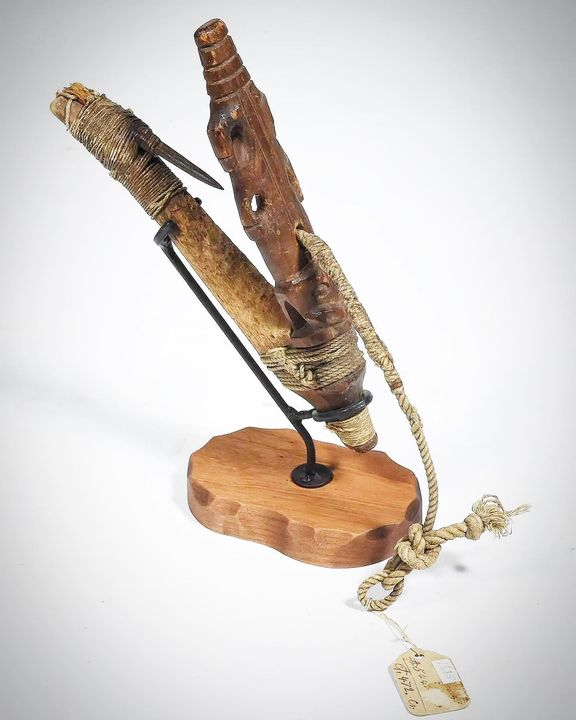 New Acquisition: Early 19th century NW Coast Halibut hook. Effigy carving, made with two pieces of wood and bound by twi...