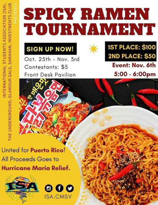 EAT TO FEED! Help us raise money for Hurricane Maria Relief by entering our Spicy Ramen Tournament. Visa cards for the w...