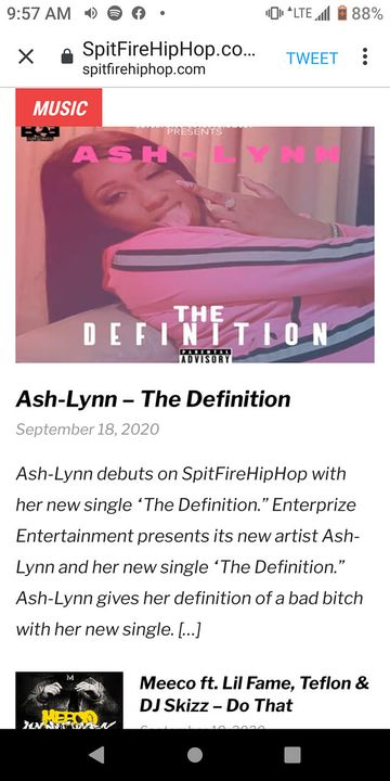 """Salute to spitfirehiphop.com for supporting Ash-Lynn New single """"The Definition""""Check out the dope write uphttps://www.s..."""