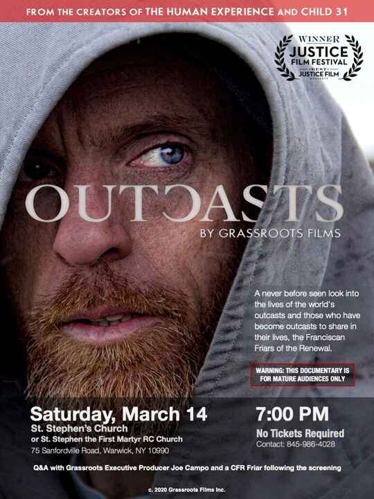 """You're Invited to a Screening of """"OUTCASTS"""" at St. Stephen's Church in Warwick, NY March 14th."""